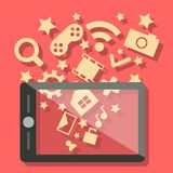 Telefono cellulare di tecnologia di mezzi d'informazione Fotografia Stock