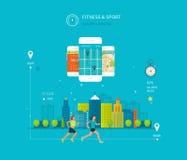 Telefono cellulare di vettore - concetto di app di forma fisica sopra Fotografia Stock