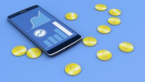 Telefono cellulare e Bitcoin, cryptocurrency, soldi elettronici, valuta virtuale, transizioni Fotografie Stock