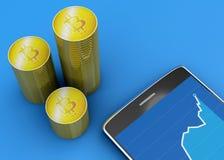 Telefono cellulare e Bitcoin, cryptocurrency, soldi elettronici, valuta virtuale, transizioni Immagini Stock Libere da Diritti