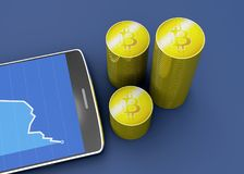 Telefono cellulare e Bitcoin, cryptocurrency, soldi elettronici, valuta virtuale, transizioni Immagine Stock