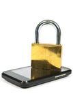 Telefono cellulare e lucchetto Fotografie Stock