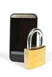 Telefono cellulare e lucchetto Fotografia Stock Libera da Diritti