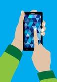 Telefono cellulare e mano moderni dello schermo attivabile al tatto Fotografie Stock Libere da Diritti