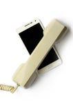 Telefono cellulare e microtelefono della linea terrestre Fotografia Stock