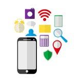 Telefono cellulare ed icone Fotografie Stock Libere da Diritti
