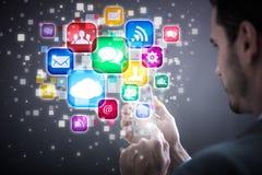 Telefono cellulare ed icone Immagini Stock