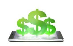 Telefono cellulare isolato su fondo bianco con l'icona dei soldi Fotografia Stock