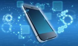 Telefono cellulare nei precedenti cosmici astratti Immagini Stock
