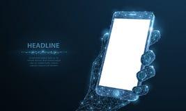 Telefono cellulare Telefono cellulare poligonale astratto del primo piano del wireframe con lo schermo vuoto bianco in bianco in  illustrazione di stock
