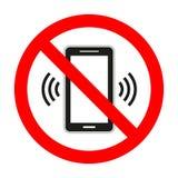 Telefono cellulare proibito Nessun segno del telefono cellulare isolato su fondo bianco Fotografia Stock Libera da Diritti