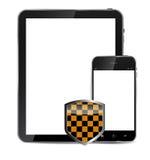 Telefono cellulare realistico e compressa di progettazione astratta Immagini Stock Libere da Diritti