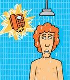 Telefono che suona mentre nella doccia illustrazione vettoriale