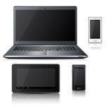 Telefono, computer portatile, compressa con la riflessione Fotografia Stock Libera da Diritti