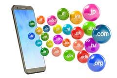 Telefono con i Domain Name, rappresentazione 3D Fotografia Stock Libera da Diritti