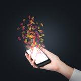 Telefono con il segno del email di volo Immagine Stock