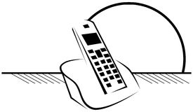 Telefono cordless isolato stilizzato nel nero illustrazione di stock