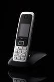 Telefono cordless su fondo nero Fotografia Stock Libera da Diritti