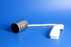 Telefono del barattolo di latta con il microtelefono fotografia stock