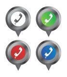 Telefono dell'indicatore di posizione del segno della mappa Fotografia Stock