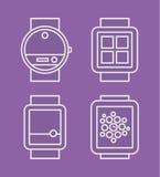 Telefono dell'orologio, linea bianca piana icona disegnata Fotografia Stock Libera da Diritti