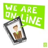 Telefono dell'uomo siamo online illustrazione vettoriale