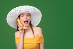 Telefono della banana Fotografie Stock