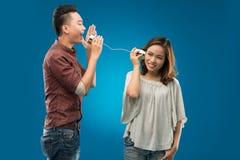 Telefono della latta Fotografie Stock