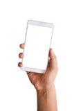 Telefono della tenuta della mano Fotografie Stock Libere da Diritti