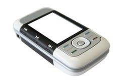 Telefono delle cellule con lo schermo bianco Fotografie Stock Libere da Diritti