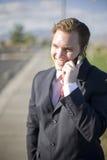 telefono delle cellule dell'uomo d'affari Fotografie Stock Libere da Diritti