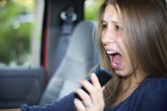 Telefono delle cellule e di incidente stradale Fotografia Stock Libera da Diritti
