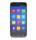 Telefono dello schermo attivabile al tatto di Smartphone con le applicazioni sopra Immagine Stock
