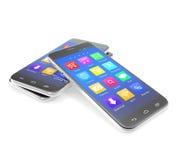 Telefono dello schermo attivabile al tatto di Smartphone con le applicazioni sopra Immagini Stock