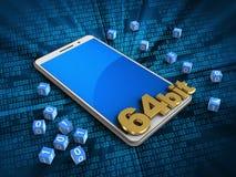 telefono di bianco 3d illustrazione di stock