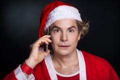 Telefono di chiamata di Santa Fotografia Stock Libera da Diritti