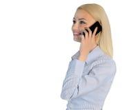 Telefono di conversazione della donna di affari Fotografia Stock Libera da Diritti