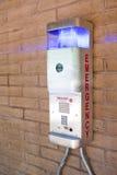 Telefono di emergenza ad una città universitaria dell'istituto universitario Fotografia Stock