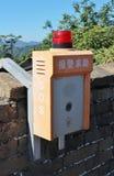 Telefono di emergenza alla grande muraglia a Mutianyu Immagine Stock