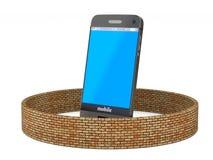 Telefono di protezione su fondo bianco 3D isolato Immagine Stock