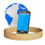Telefono di protezione su fondo bianco 3D isolato Fotografie Stock Libere da Diritti