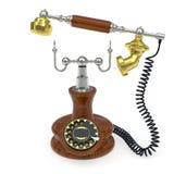 Telefono di vecchio stile con la ricevente in su alzata Immagini Stock