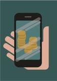 Telefono a disposizione con soldi sullo schermo Immagini Stock Libere da Diritti