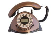 Telefono domestico marrone isolato Fotografia Stock