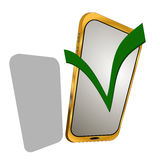 Telefono dorato isolato su fondo bianco Fotografie Stock Libere da Diritti