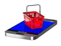 Telefono e cestino della spesa rosso su fondo bianco 3d isolato i Immagini Stock Libere da Diritti