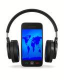 Telefono e cuffia su priorità bassa bianca Immagini Stock Libere da Diritti