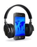 Telefono e cuffia su priorità bassa bianca Immagine Stock