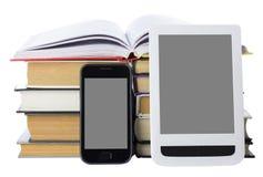 Telefono e libro elettronico Fotografia Stock Libera da Diritti