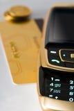 Telefono e scheda delle cellule del primo piano Fotografia Stock